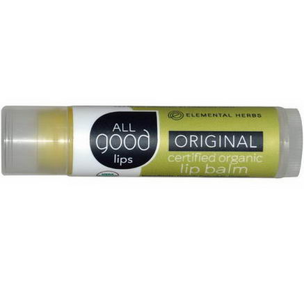 Elemental Herbs, All Good Lips, Certified Organic Lip Balm, Original, 4.25g