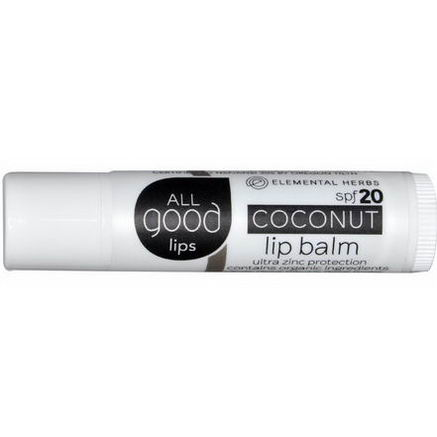 Elemental Herbs, All Good Lips, Lip Balm, SPF 20, Coconut, 4.25g