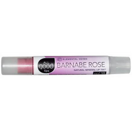 Elemental Herbs, All Good Lips, Natural Mineral Lip Tint, SPF 18, Barnabe Rose, 2.55g