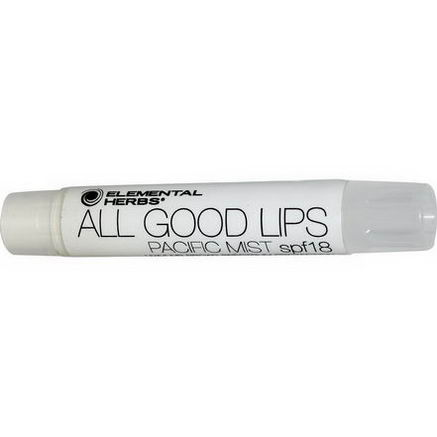 Elemental Herbs, All Good Lips - Tinted, SPF 18, Pacific Mist, 2.55g