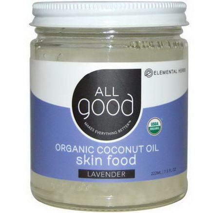 Elemental Herbs, All Good, Organic Coconut Oil, Skin Food, Lavender, 7.5 fl oz (222 ml)