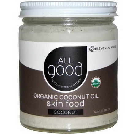 Elemental Herbs, Organic Coconut Oil, Skin Food, Coconut, 7.5 fl oz (222 ml)