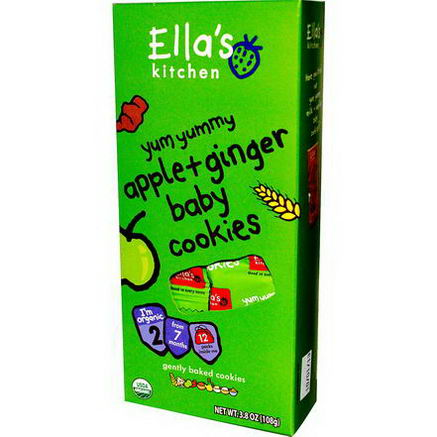 Ella's Kitchen, Baby Cookies, Apple + Ginger, 12 Packs, 3.8oz (108g)