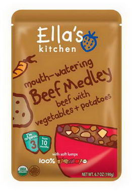 Ella's Kitchen, Mouth-Watering Beef Medley Beef with Vegetables + Potatoes, Stage 3, 6.7oz (190g)