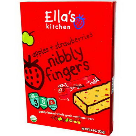 Ella's Kitchen, Nibbly Fingers, Apples + Strawberries, 5 Bars, 4.4oz (125g)