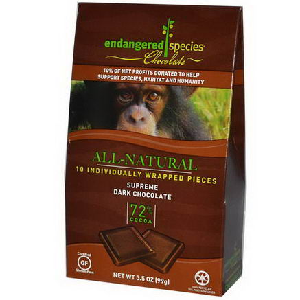 Endangered Species Chocolate, All-Natural Supreme Dark Chocolate, 10 Pieces, 10g Each