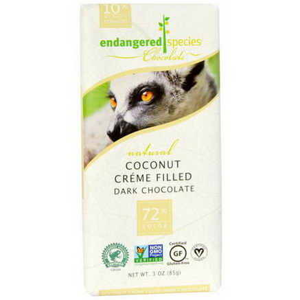 Endangered Species Chocolate, Coconut Creme Filled Dark Chocolate, 3oz (85g)