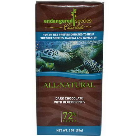 Endangered Species Chocolate, Dark Chocolate with Blueberries, 3oz (85g)