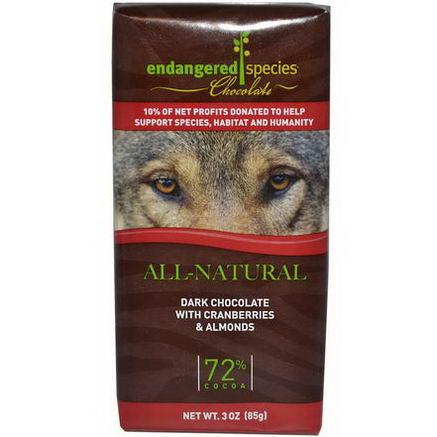 Endangered Species Chocolate, Dark Chocolate with Cranberries & Almonds, 3oz (85g)