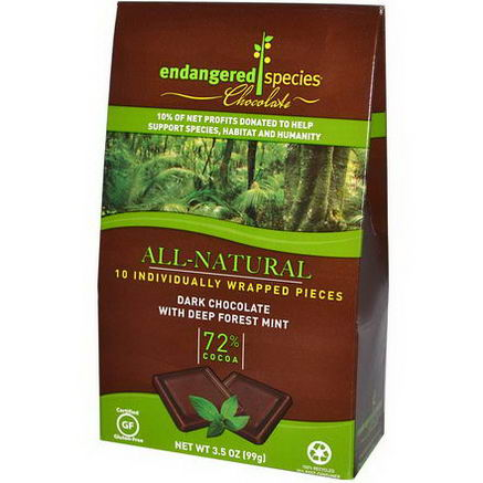Endangered Species Chocolate, Dark Chocolate with Deep Forest Mint, 10 Pieces, 10g Each