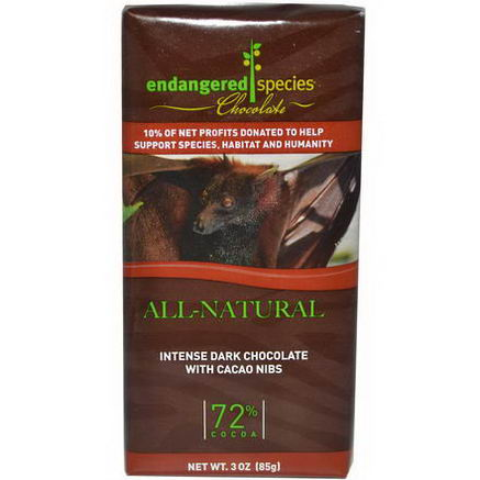 Endangered Species Chocolate, Intense Dark Chocolate with Cacao Nibs, 3oz (85g)