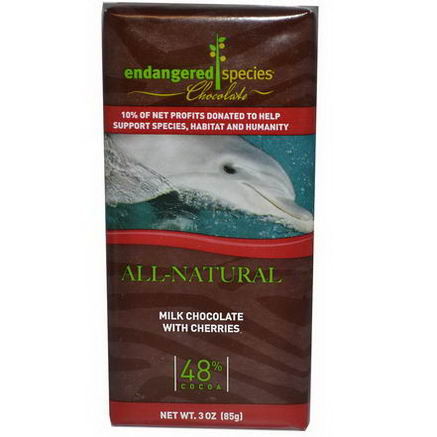 Endangered Species Chocolate, Milk Chocolate with Cherries, 3oz (85g)