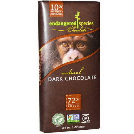 Endangered Species Chocolate, Natural Dark Chocolate, 3oz (85g)