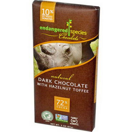 Endangered Species Chocolate, Natural Dark Chocolate with Hazelnut Toffee, 3oz (85g)