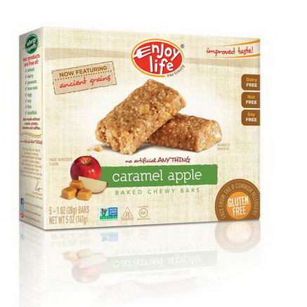 Enjoy Life Foods, Baked Chewy Bars, Caramel Apple, 5 Bars, 1oz (28g) Each