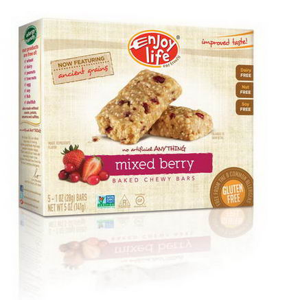 Enjoy Life Foods, Baked Chewy Bars, Mixed Berry, 5 Bars, 1oz (28g) Each