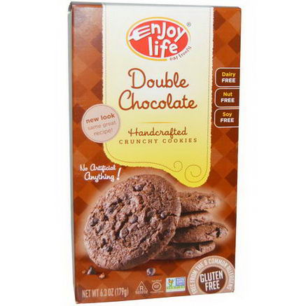 Enjoy Life Foods, Handcrafted Crunchy Cookies, Double Chocolate, 6.3oz (179g)