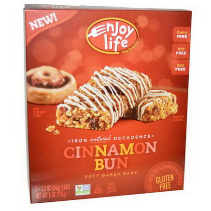 Enjoy Life Foods, Soft Baked Bars, Cinnamon Bun, 5 Bars, 1.2oz (34g) Each