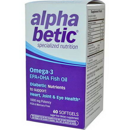 Enzymatic Therapy, Alpha Betic, Omega-3 EPA+DHA Fish Oil, 60 Softgels