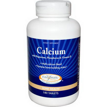 Enzymatic Therapy, Calcium, with Magnesium, Phosphorus & Vitamin D, 180 Tablets