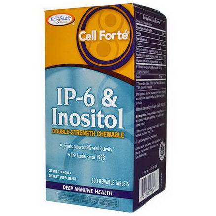 Enzymatic Therapy, Cell Forte, IP-6 & Inositol, Double-Strength Chewable, Citrus Flavored, 60 Chewable Tablets