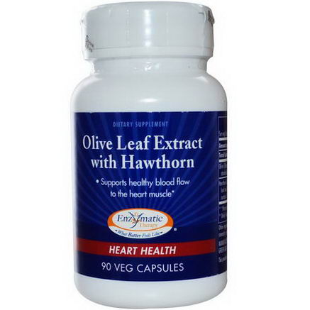 Enzymatic Therapy, Olive Leaf Extract with Hawthorn, Heart Health, 90 Veggie Caps