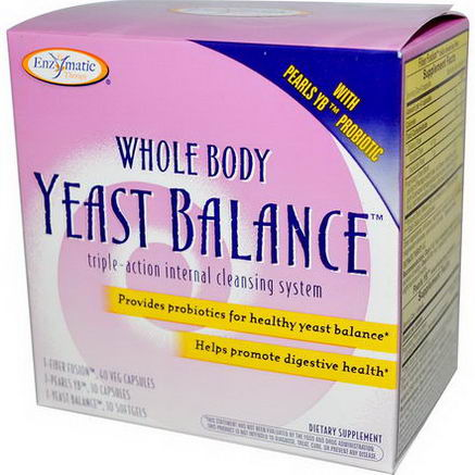 Enzymatic Therapy, Whole Body Yeast Balance, Triple-Action Internal Cleansing System, 3 Part Program