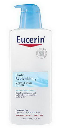 Eucerin, Daily Replenshing Moisturizing Lotion, Fragrance Free, 16.9 fl oz (500 ml)