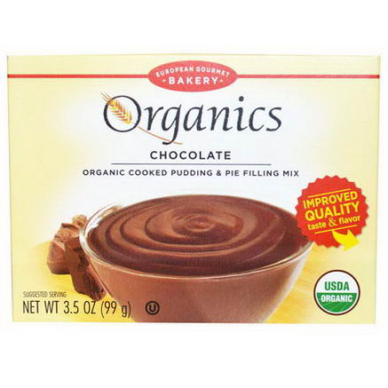 European Gourmet Bakery, Organics, Cooked Pudding & Pie Filling Mix, Chocolate, 3.5oz (99g)
