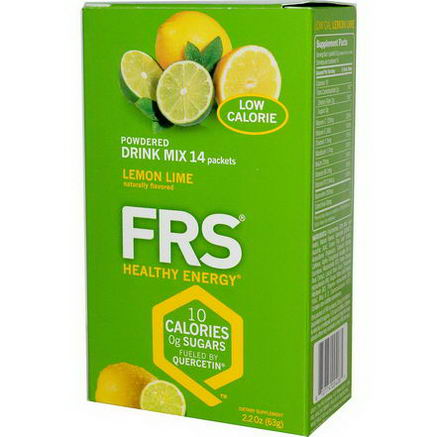 FRS Healthy Energy, Powdered Drink Mix, Lemon Lime, 14 Packets, 2.2oz (63g)