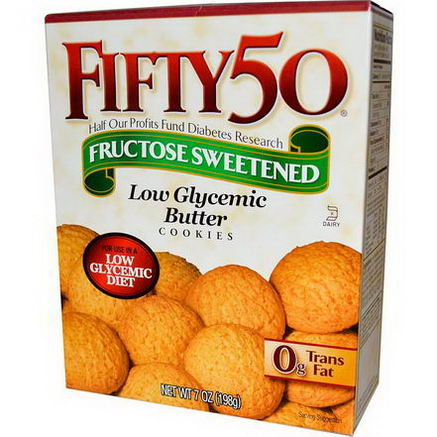 Fifty 50, Fructose Sweetened, Low Glycemic Butter Cookies, 7oz (198g)