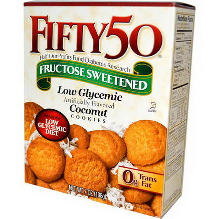Fifty 50, Low Glycemic Coconut Cookies, 7oz (198g)