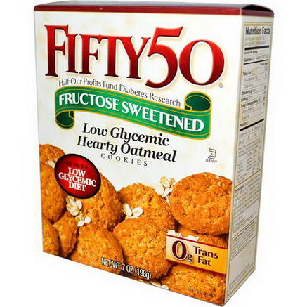 Fifty 50, Low Glycemic Hearty Oatmeal Cookies, 7oz (198g)