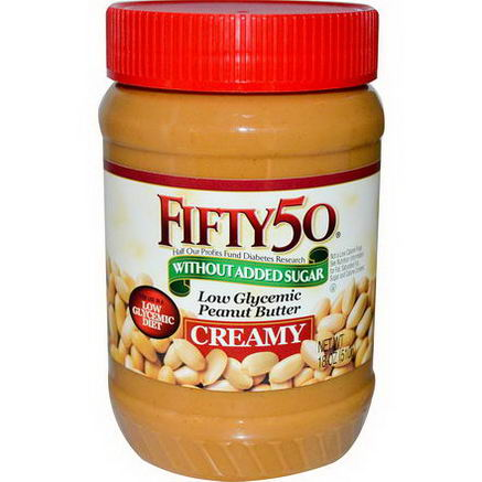 Fifty 50, Low Glycemic Peanut Butter, Creamy, 18oz (510g)