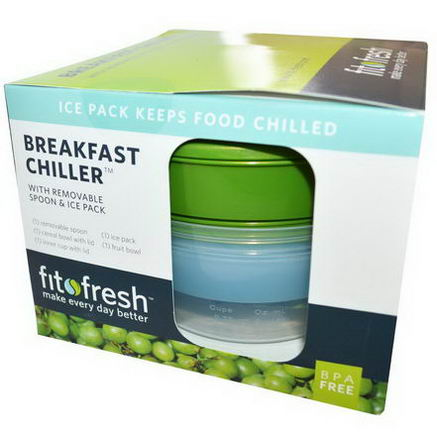 Fit & Fresh, Breakfast Chiller with Removable Spoon & Ice Pack, 7 Piece Bowl Set