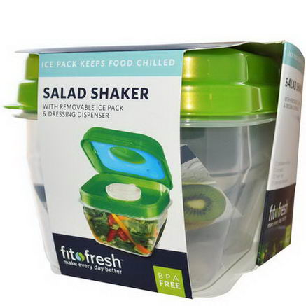 Fit & Fresh, Salad Shaker with Removable Ice Pack & Dressing Dispenser, 5 Piece Bowl