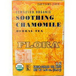 Flora, Certified Organic Herbal Tea, Soothing Chamomile, Caffeine Free, 16 Tea Bags, 0.68oz (19.2g)