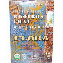 Flora, Certified Organic, Rooibos Chai Herbal Tea Blend, Caffeine-Free, 16 Tea Bags, 1.35oz (38.4g)