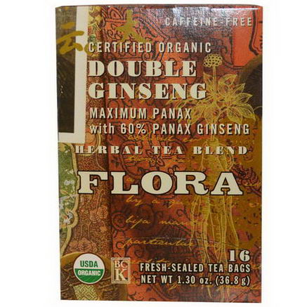Flora, Herbal Tea Blend, Certified Organic Double Ginseng, Caffeine Free, 16 Tea Bags, 1.30oz (36.8g)