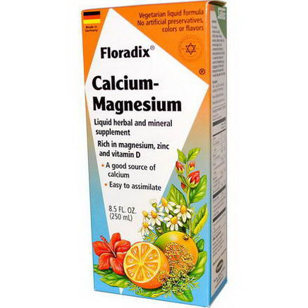 Flora, Salus-Haus, Floradix Calcium - Magnesium with Zinc and Vitamin D, 8.5 fl oz (250 ml)