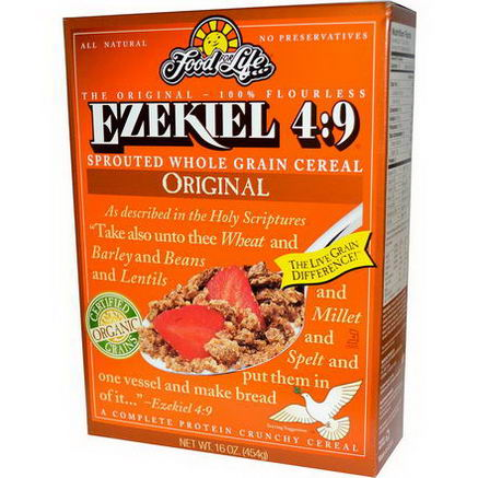 Food For Life, Ezekiel 4:9, Sprouted Whole Grain Cereal, Original, 16oz (454g)