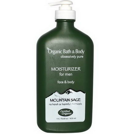 Fresh Organics, Organic Bath & Body, Moisturizer for Men, Face & Body, Mountain Sage, 14.2 fl oz (240 ml)