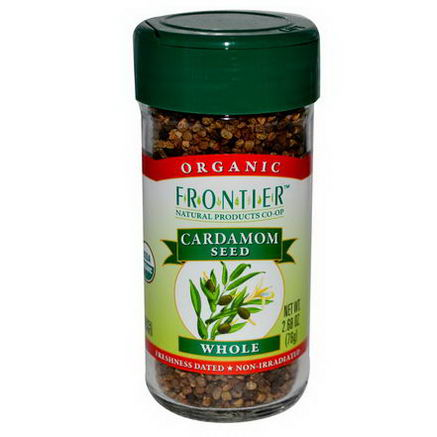 Frontier Natural Products, Organic Cardamom Seed, Whole, 2.68oz (76g)