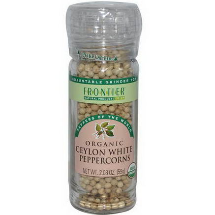 Frontier Natural Products, Organic Ceylon White Peppercorns, 2.08oz (59g)
