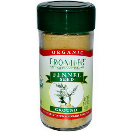 Frontier Natural Products, Organic Fennel Seed, Ground, 1.48oz (42g)