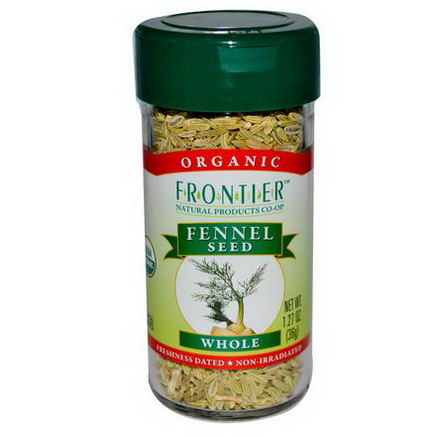 Frontier Natural Products, Organic Fennel Seed, Whole, 1.27oz (36g)