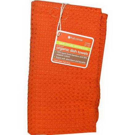 Full Circle Home LLC, In The Buff, Organic Dish Towel, Orange, 1 Towel, 16