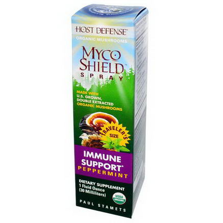 Fungi Perfecti, Host Defense, Myco Shield Spray, Immune Support, Peppermint, 1 fl oz (30 ml)