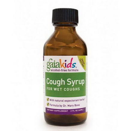 Gaia Herbs, GaiaKids, Cough Syrup, For Wet Coughs, Alcohol Free Formula, 2 fl oz (60 ml)