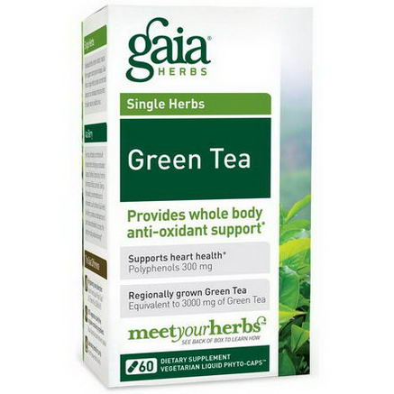 Gaia Herbs, Green Tea, 60 Veggie Liquid Phyto- Caps
